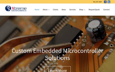 Screenshot of Home Page xedi.us - Xtreme Electronic Design – Custom Embedded Microcontroller Solutions - captured Oct. 19, 2018