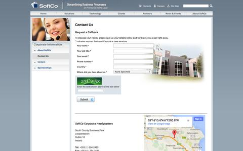 Screenshot of Contact Page Locations Page softco.com - Contact SoftCo |  SoftCo - captured Oct. 25, 2014