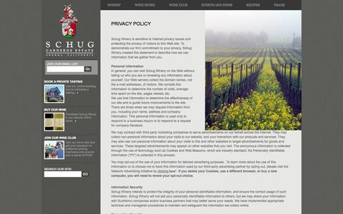 Screenshot of Privacy Page schugwinery.com - Schug Winery's Privacy Policy - captured Oct. 3, 2014