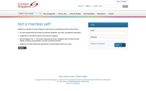 Screenshot of Login Page contactsingapore.sg - Login to My Dashboard - Contact Singapore - captured Nov. 3, 2014