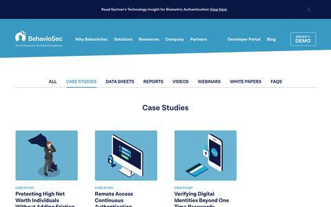 Screenshot of Case Studies Page behaviosec.com - Case Studies   BehavioSec - captured June 26, 2019