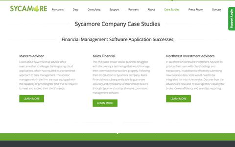 Screenshot of Case Studies Page sycamorecompany.com - Case Studies - Sycamore Company - captured Jan. 15, 2020