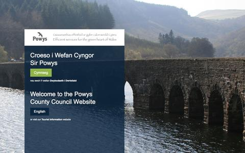 Screenshot of Home Page powys.gov.uk - Cyngor Sir Powys County Council - captured Sept. 19, 2014