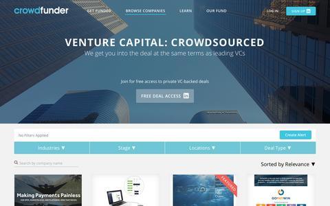 Screenshot of Home Page crowdfunder.com - Crowdfunder   Best Crowdfunding Site   Equity Crowdfunding - captured Aug. 21, 2016