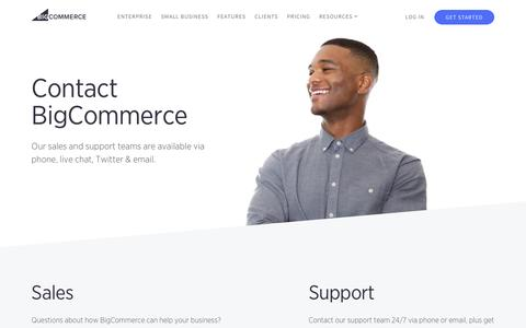 Screenshot of Contact Page bigcommerce.com - We're here to help | Bigcommerce - captured June 15, 2016
