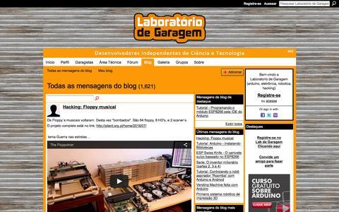 Screenshot of Blog labdegaragem.com - Blogs - Laboratorio de Garagem (arduino, eletrônica, robotica, hacking) - captured July 10, 2016