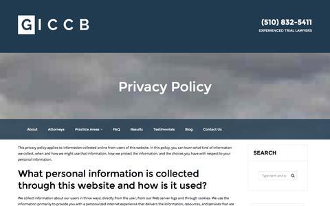Screenshot of Privacy Page giccb.com - Privacy Policy | GICCB - captured Nov. 2, 2014