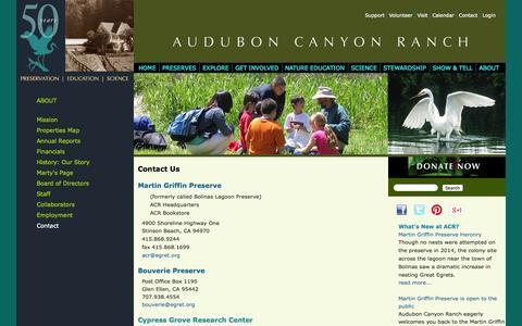 Screenshot of Contact Page egret.org - Contact Us | Audubon Canyon Ranch - captured Oct. 4, 2014