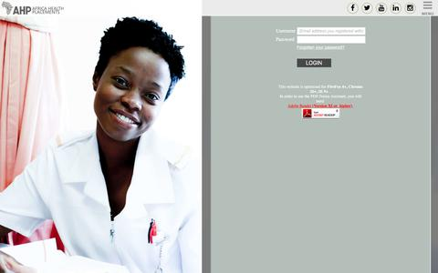 Screenshot of Login Page ahp.org.za - Africa Health Placements   AHP   healthcare jobs   public health jobs   rural health jobs   medical recruitment in South Africa - captured Nov. 20, 2016