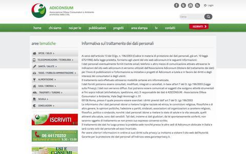 Screenshot of Privacy Page adiconsum.it - ADICONSUM Associazione Difesa Consumatori e Ambiente promossa dalla CISL - captured Oct. 31, 2014