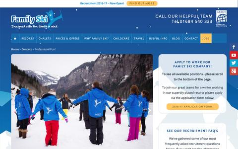Screenshot of Jobs Page familyski.co.uk - Job Opportunities with the Family Ski Company - captured June 13, 2016