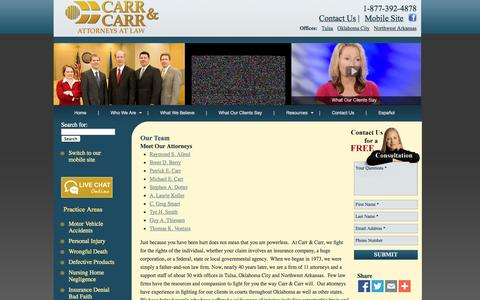 Screenshot of About Page Team Page carrcarr.com - Oklahoma lawyers, Tulsa Attorney, Arkansas Attorneys - Team - captured Oct. 22, 2014