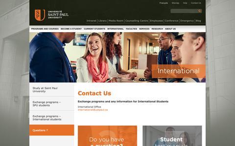 Screenshot of FAQ Page ustpaul.ca - International - Contact Us - captured Oct. 2, 2018