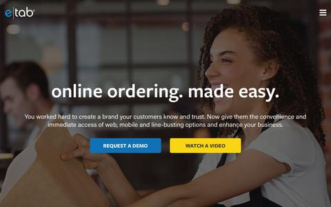 Screenshot of Home Page e-tab.com - e|tab – online ordering made easy - captured July 17, 2016