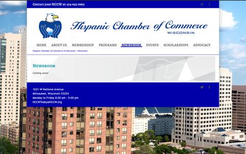 Screenshot of Press Page hccw.org - Hispanic Chamber of Commerce of Wisconsin   –  Newsroom - captured Oct. 2, 2014