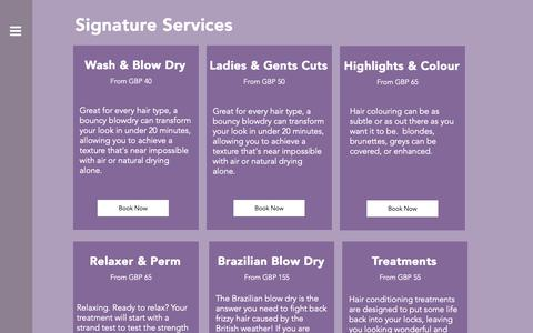 Screenshot of Services Page charlescarterhair.com - Charles Carter Hair  | Services - captured Dec. 7, 2018