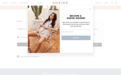 Screenshot of Login Page sheike.com.au - Customer Login - captured Sept. 22, 2018
