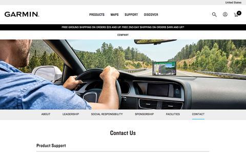 Screenshot of Contact Page garmin.com - Contact GARMIN - captured Sept. 20, 2019