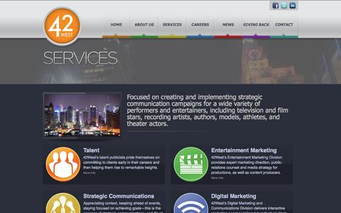 Screenshot of Services Page 42west.net - 42 West - Full-service public-relations for the entertainment industry - captured Oct. 27, 2014