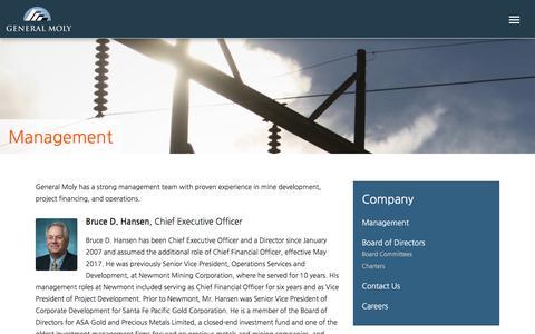 Screenshot of Team Page generalmoly.com - Management – General Moly - captured July 17, 2018