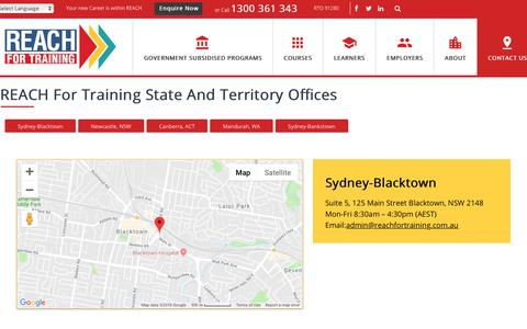 Screenshot of Contact Page Locations Page reachfortraining.com.au - Contact Us - Reach For Training Pty Ltd - captured Oct. 19, 2018