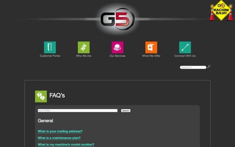 Screenshot of FAQ Page gfive.net - FAQ's - captured Sept. 26, 2014