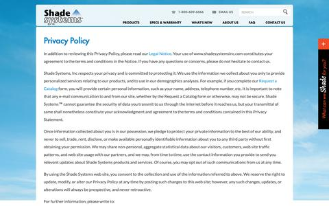Screenshot of Privacy Page shadesystemsinc.com - Shade Systems privacy policy - captured Dec. 7, 2018