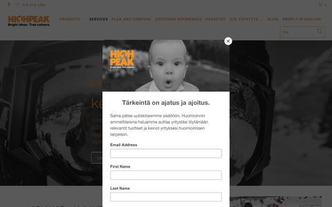 Screenshot of Services Page highpeak.fi - Services - High Peak Finland - captured Sept. 28, 2018