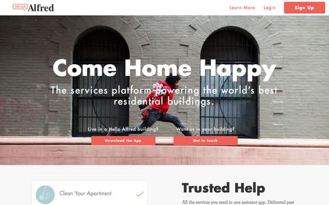 Screenshot of Home Page helloalfred.com - Alfred | Home - captured Feb. 13, 2018