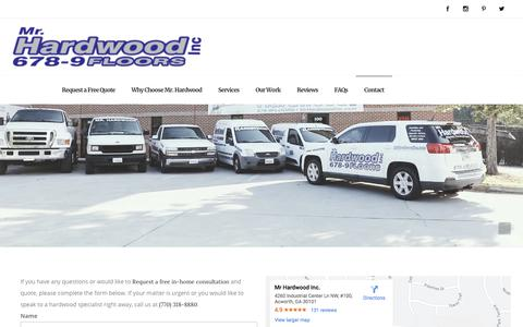 Screenshot of Contact Page mrhardwoodinc.com - Contact Mr. Hardwood - Hardwood Flooring Installation & Refinishing - Mr Hardwood - captured Sept. 20, 2019