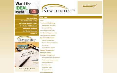 Screenshot of Site Map Page thenewdentist.net - The New Dentist – New Dentist Resources, New Dentist Buzz Blog, New Dentist Practice Management, New Dentist Practice Issues, New Dentist Start Up - captured Oct. 9, 2014