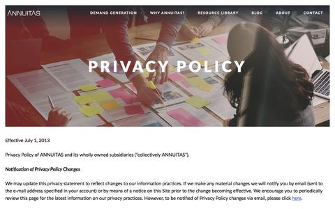 Screenshot of Privacy Page annuitas.com - Privacy Policy - Annuitas - captured Oct. 1, 2016