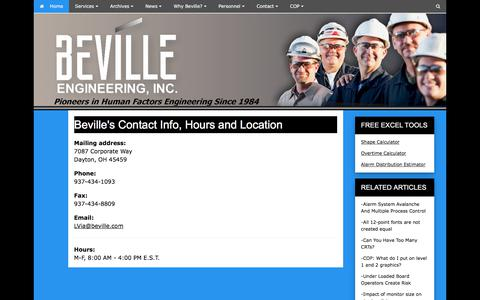 Screenshot of Hours Page beville.com - Beville's Contact Info, Hours and Location - captured Oct. 10, 2017