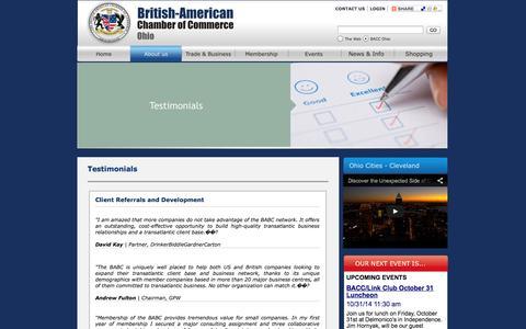 Screenshot of Testimonials Page baccohio.org - The British American Chamber of Commerce - captured Oct. 5, 2014