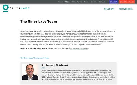Screenshot of About Page Team Page ginerinc.com - Giner Team - captured Oct. 19, 2018