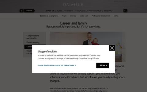 Screenshot of daimler.com - Balancing a career and a family   Daimler > Careers > That's us > Daimler as an employer > Career and family - captured Dec. 24, 2016