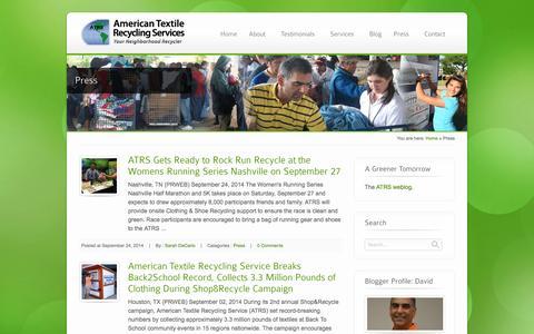 Screenshot of Press Page atrscorp.com - Press - ATRS - captured Oct. 4, 2014