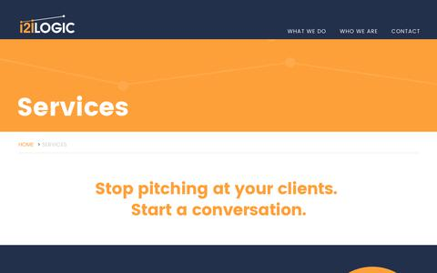 Screenshot of Services Page i2ilogic.com - i2i Logic | What we do | We transform client engagements - captured June 8, 2017