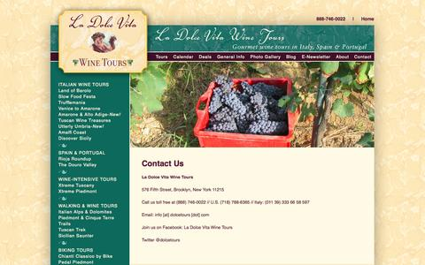 Screenshot of Contact Page dolcetours.com - La Dolce Vita Wine Tours  | Contact Us - captured Oct. 1, 2014