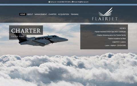 Screenshot of Home Page flair-jet.com - FlairJet | FlairJet - captured Jan. 15, 2015