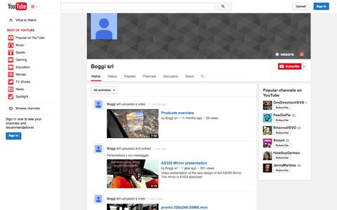 Screenshot of YouTube Page youtube.com - Boggi srl  - YouTube - captured Oct. 23, 2014