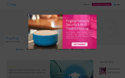 Screenshot of Blog fing.io - Internet of Things Blog: Network Security, Scanning, WiFi Troubleshooting - captured April 12, 2017