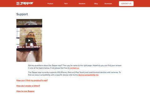 Screenshot of Support Page zappar.com - Get Support Using The Zappar App - captured Jan. 19, 2018