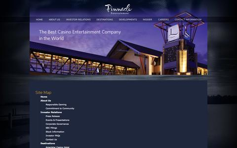 Screenshot of Site Map Page pnkinc.com - Site Map » Pinnacle Entertainment, Inc. - captured Sept. 19, 2014