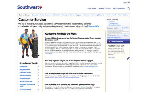 Screenshot of Support Page southwest.com - Customer Service - captured Sept. 19, 2014