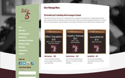 Screenshot of Menu Page take5massage.com - Chair Massage Price Menu | Take 5 Massage - captured Oct. 7, 2014