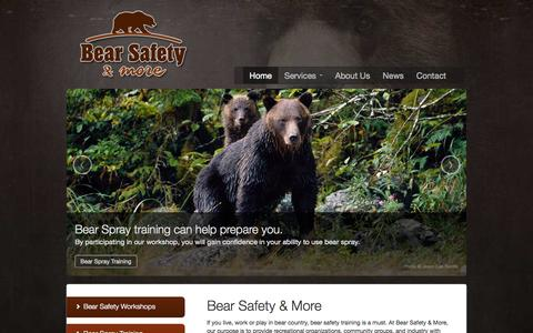 Screenshot of Home Page bearsafety.com - Bear Safety & More - Bear Safety Workshops, Bear Spray Training, Wildlife Conflict Solutions | Bear Safety & More - captured Oct. 5, 2014