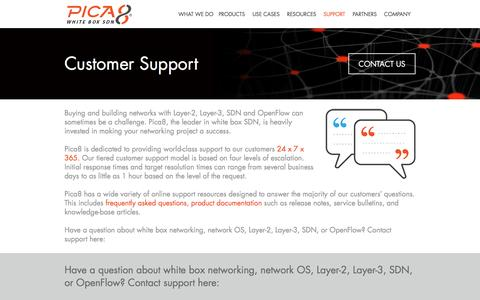 Screenshot of Support Page pica8.com - Pica8   �  Customer Support - captured Dec. 4, 2015