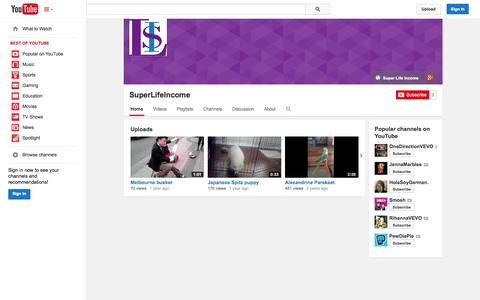 Screenshot of YouTube Page youtube.com - SuperLifeIncome  - YouTube - captured Oct. 26, 2014