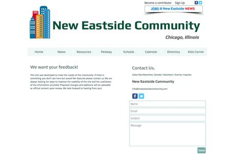 Screenshot of Contact Page Signup Page neweastsidecommunity.com - Contact Form - captured Jan. 23, 2017